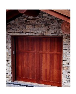 Custom Garage Doors with your choice of wood and beautiful Stain Finishes