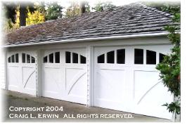 Copyrighted Custom swing carriage doors.  Choose the opening style that meets your swing carriage doors requirements:  Roll-up in sections, Swing-out, Swing-in, Slide, or Fold for your Seattle carriage house garage door.